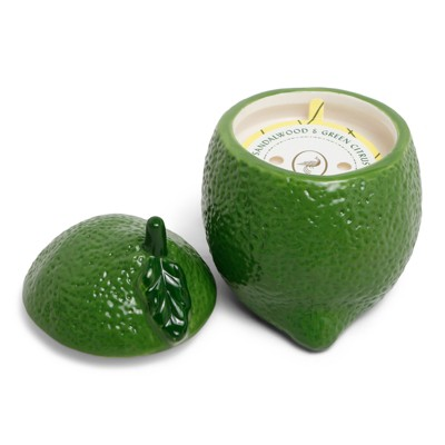 6oz Ceramic Figural Jar Candle Sandalwood & Green Citrus - Fruit Collection - Opalhouse™