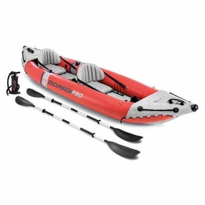 Intex 68309EP Excursion Pro Inflatable 2 Person Vinyl Kayak with Aluminum Oars, Fishing Rod Holders, and High Output Pump for Rivers, Lakes, & Ocean