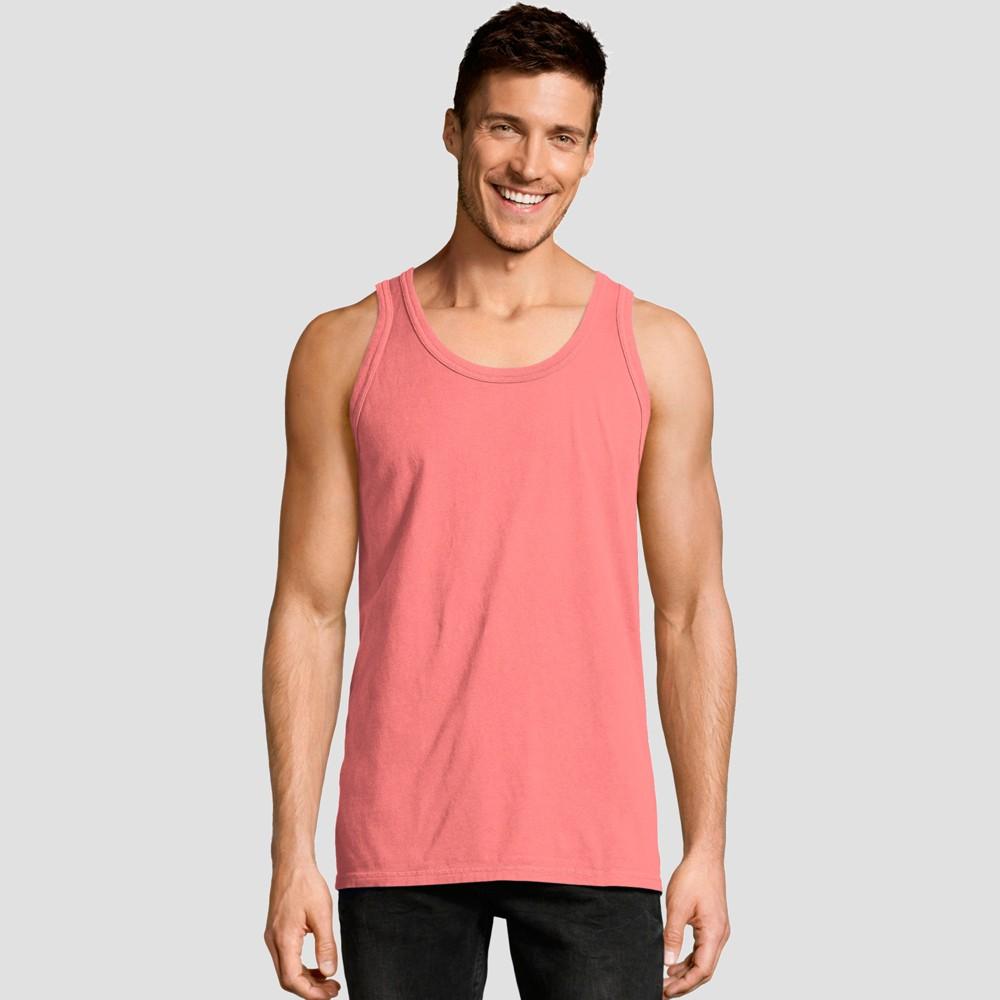 Best Buy Hanes Men 1901 Garment Dyed Tank Top Coral Pink S