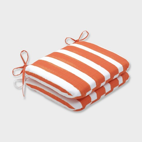 2pk Nico Marmalade Rounded Corners Outdoor Seat Cushions Orange - Pillow Perfect - image 1 of 1