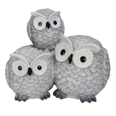 "Roman 7.25"" Gray Wide Eyed Outdoor Stacked Owl Garden Statue"