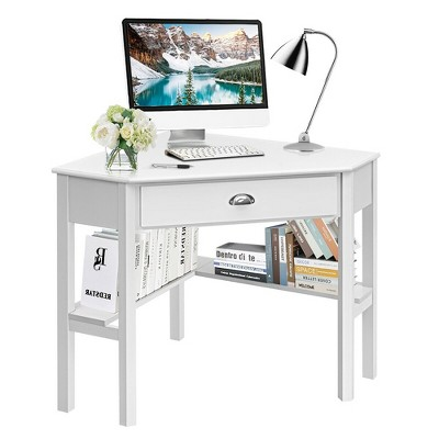 Costway Corner Computer Desk Laptop Writing Table Wood Workstation Home Office Furniture White