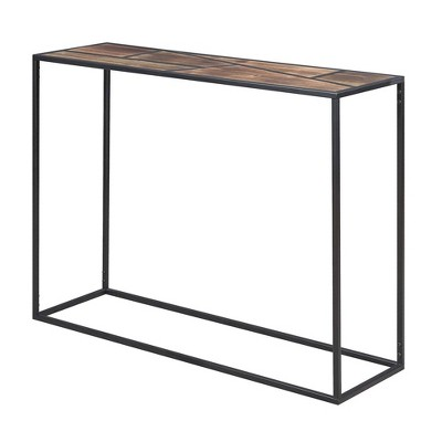 Geo Console Table Wood Top/Black - Breighton Home