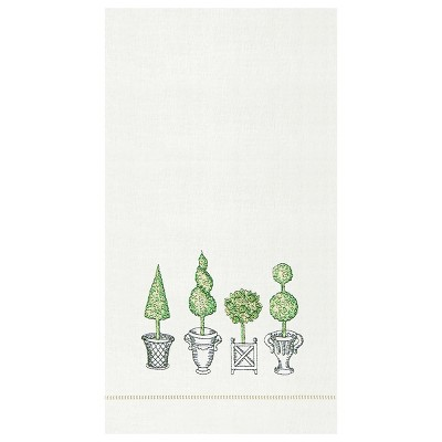 C&F Home Colonial Williamsburg Topiary Hemstitch Decorative Guest Towel