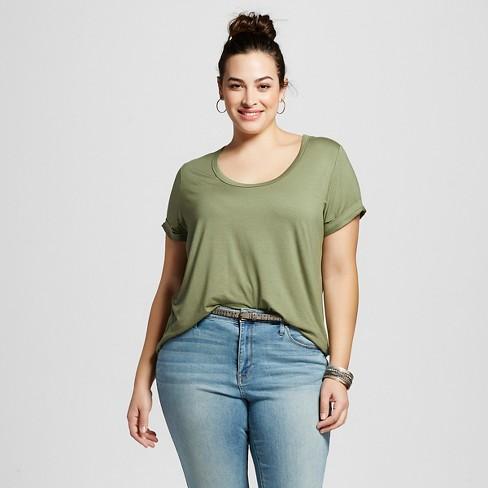 eb507d515b2 Women s Plus Size Perfect T-Shirt - Ava   Viv™ Green 3X   Target