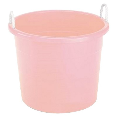 plastic storage bin with woven handles pink pillowfort target. Black Bedroom Furniture Sets. Home Design Ideas