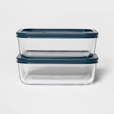 4 Cup 2pk Rectangular Food Storage Container Set Navy - Room Essentials™