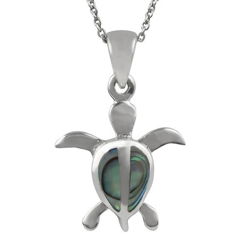 "1/10 CT. T.W. Trillion-cut Paua Shell Pave Set Turtle Pendant Necklace in Sterling Silver - Green (18"") - image 1 of 2"
