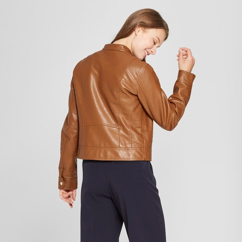 Women S Faux Leather Moto Jacket A New Day Brown Target