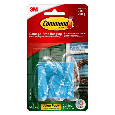 Command™ Outdoor Medium Clear Window Hooks with Clear Strips, 5/pk - image 1 of 4