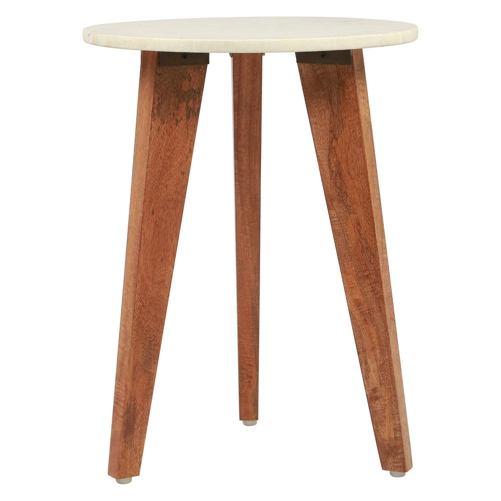"""Image of """"16"""""""" Modern Round Faux Marble Accent Table Stone/Brown - ZM Home"""""""
