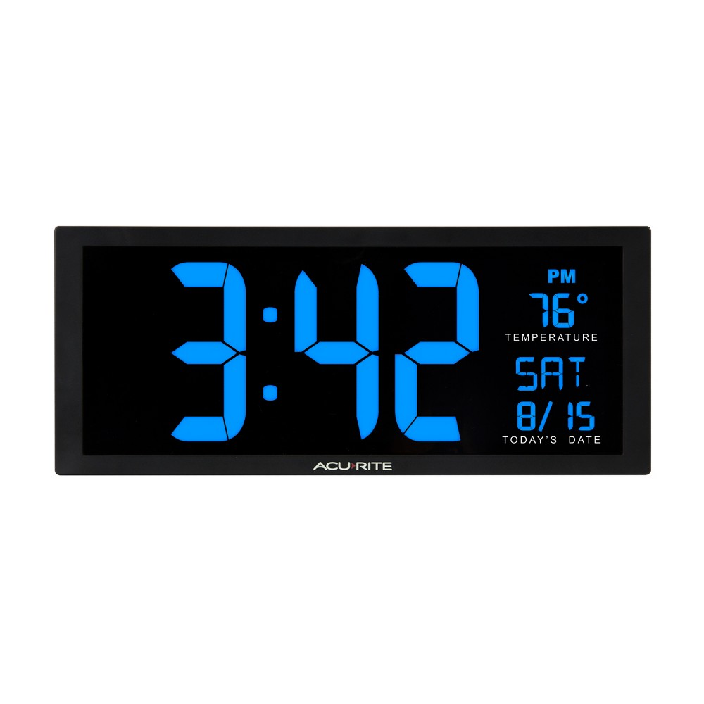 Image of 14.5 Digital Clock with Indoor Temperature Blue - AcuRite