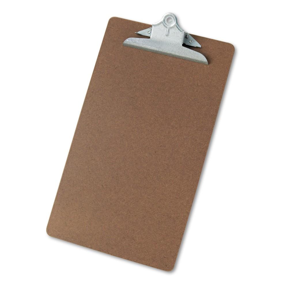 Universal Hardboard Clipboard, 1-1/4 Capacity, Holds 8 1/2 x 14, Brown
