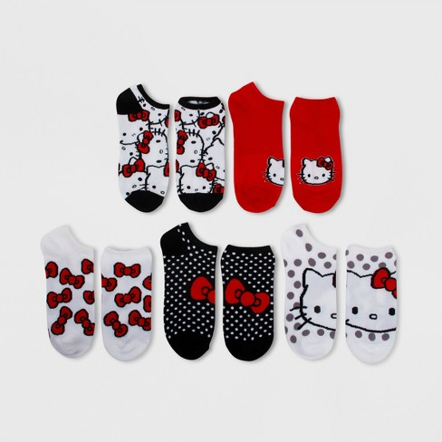 0424bd57d Women's Hello Kitty 5pk Low Cut Socks - White/Red One Size : Target