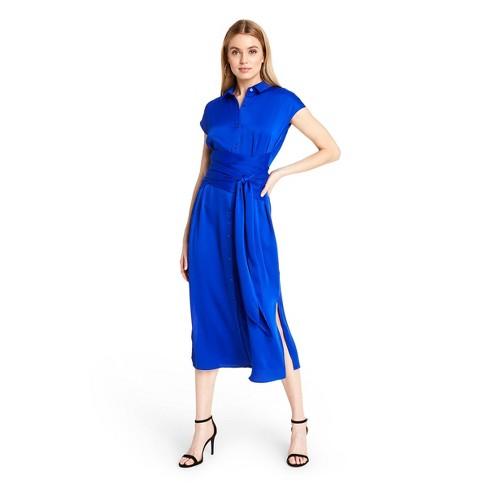Women's Tie-Front Shirtdress - CUSHNIE for Target (Regular & Plus) Royal Blue - image 1 of 4