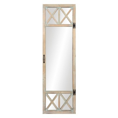 "19"" x 60"" Distressed Wood French Door Full Length Mirror Washed Wood - Patton Wall Decor"