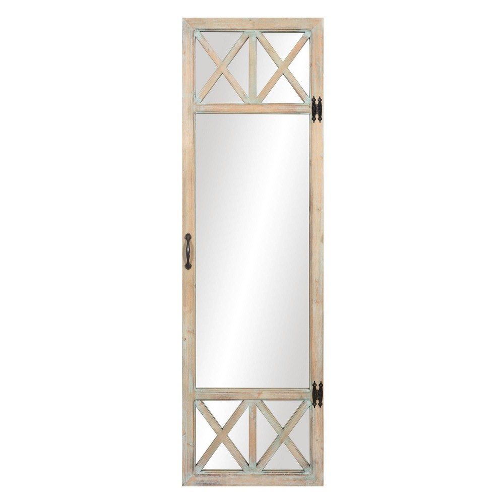 "Image of ""19"""" x 60"""" Distressed Wood French Door Full Length Mirror Washed Wood - Patton Wall Decor, Beige"""