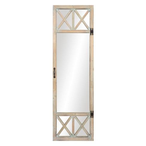 19 X 60 Distressed Wood French Door, Door Mount Mirror Full Length