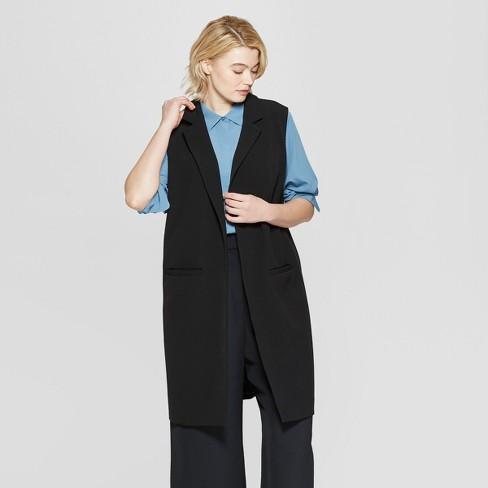 3492f3163df2ac Women s Plus Size Sleeveless Open-Front Longline Vest - Prologue™ Black    Target