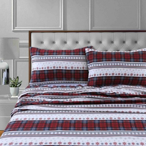 California King Printed Pattern Extra Deep Pocket Cotton Flannel Sheet Set Red Stripe Tribeca Living Target