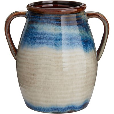 "Kensington Hill Modern 8 1/2"" High Blue Multi-Color 2-Handle Ceramic Vase"