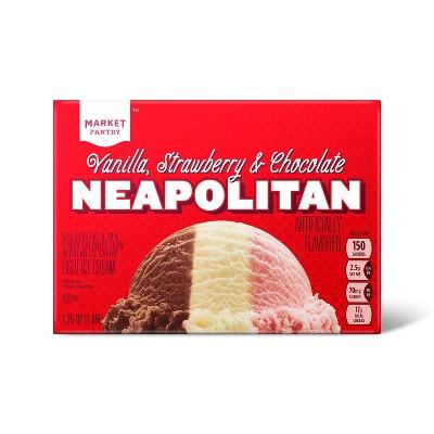 Vanilla, Strawberry and Chocolate Neapolitan Light Ice Cream - 56oz - Market Pantry™