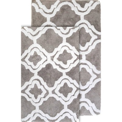 2pc Double Quatrefoil Bath Rug Set Gray - Chesapeake