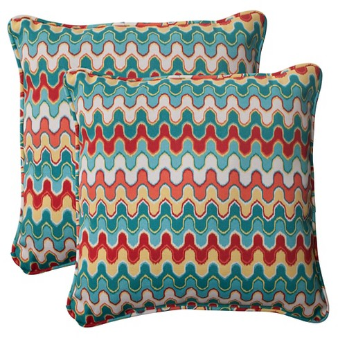 Outdoor 2 Piece Square Toss Pillow Set Red Turquoise Chevron Target