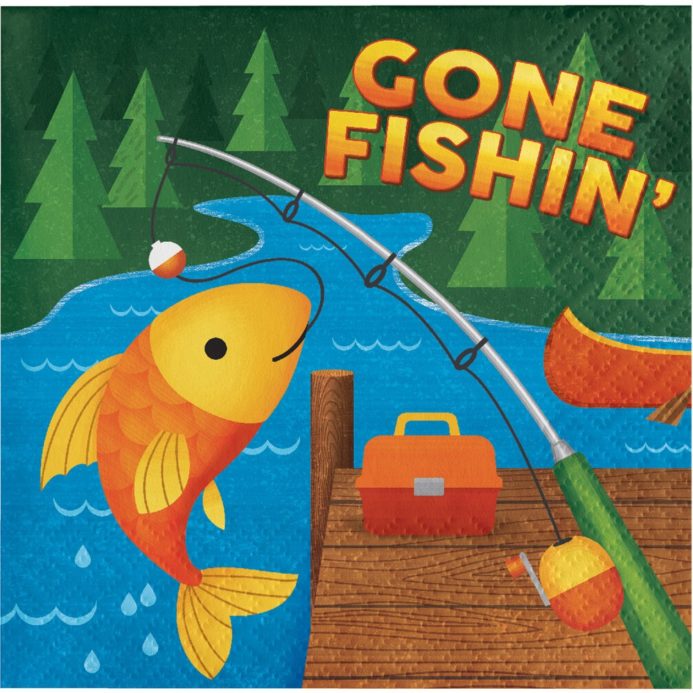 Image of 16ct Creative Converting Camping Gone Fishing Napkins