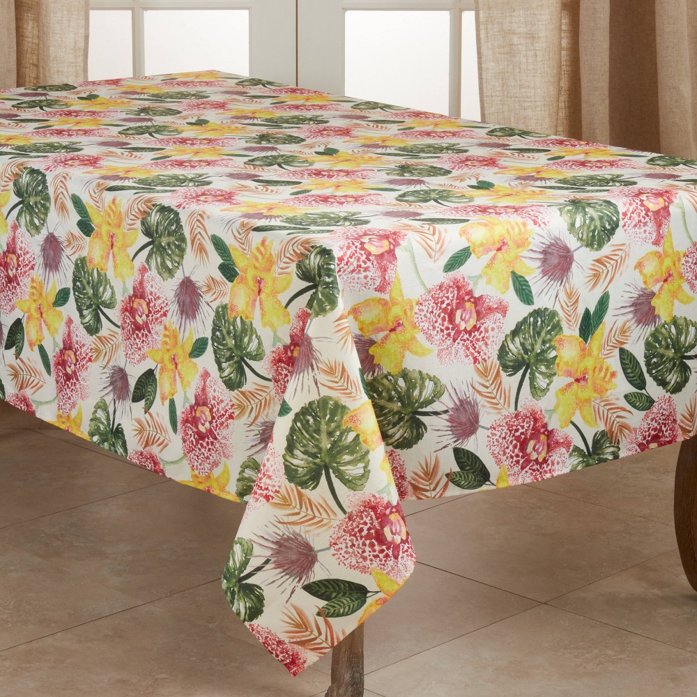 "Image of ""104"""" x 65"""" Polyester Floral Lanai Tablecloth - Saro Lifestyle"""