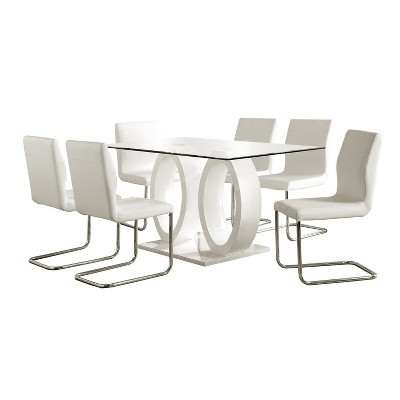 7pc SpeareltonDouble Oval Pedestal Dining Table Set White - HOMES: Inside + Out