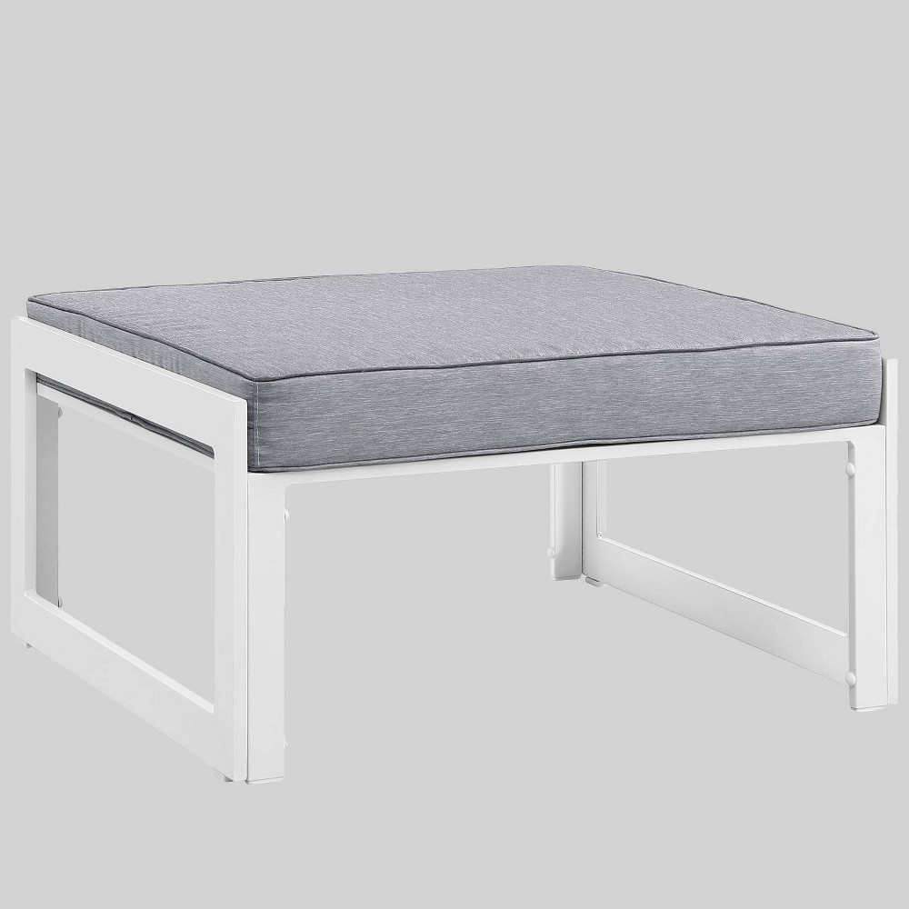 Fortuna Outdoor Patio Ottoman - Gray - Modway