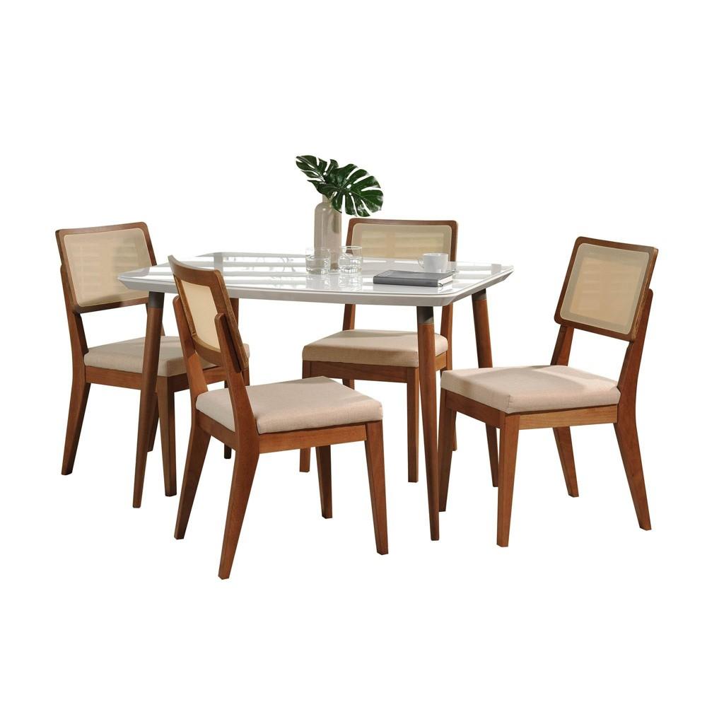 45.27 5pc Charles and Pell Dining Set Gloss White/Dark Beige - Manhattan Comfort