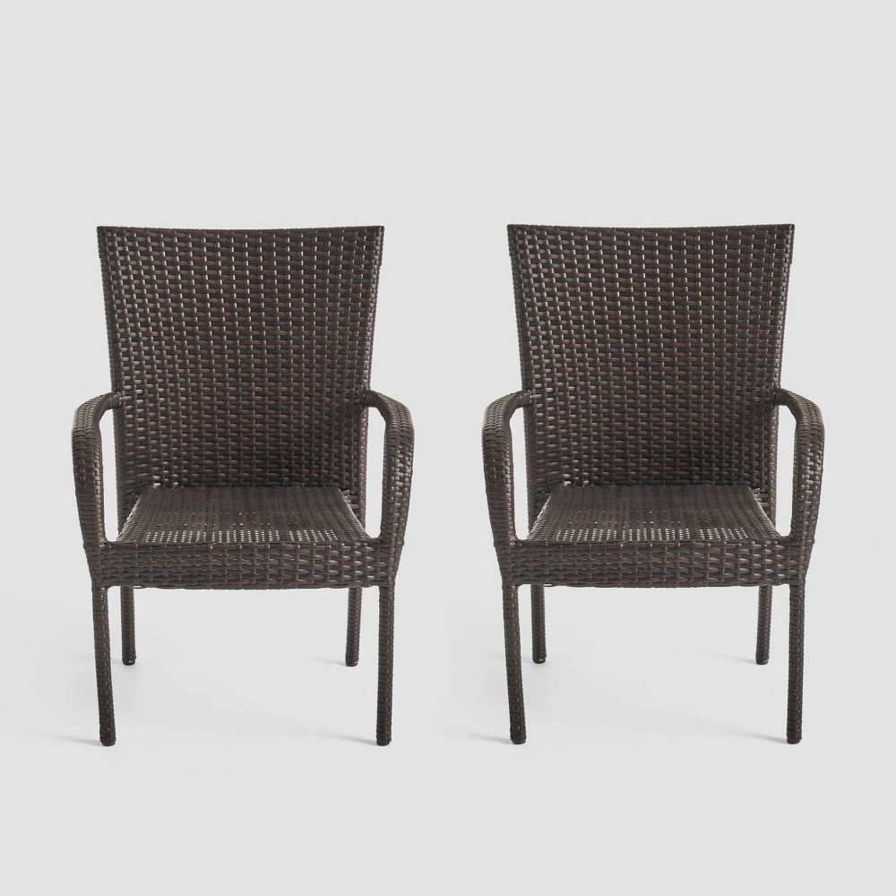 Littleton 2pk Wicker Patio Stackable Club Chair Brown Christopher Knight Home