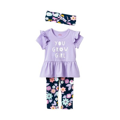 Baby Girls' Floral 'You Grow Girl' Top & Bottom Set with Headband - Cat & Jack™ Lavender Newborn