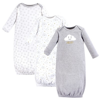 Hudson Baby Infant Cotton Long-Sleeve Gowns 3pk, Gray Clouds, 0-6 Months