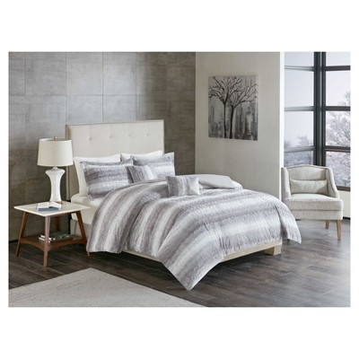 5pc Full/Queen Oslo Long Striped Faux Fur Quilt Set Gray