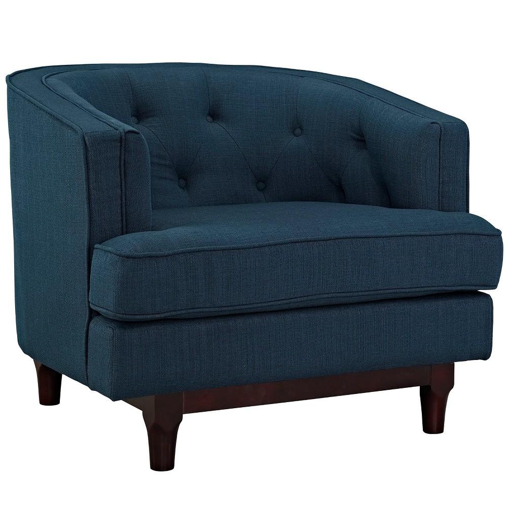 Coast Upholstered Armchair Azure (Blue) - Modway