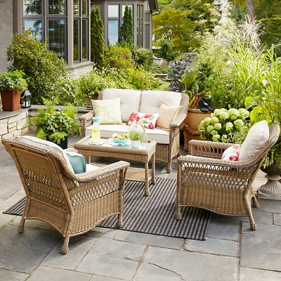 Cambridge Patio Furniture Collection - Threshold™ & Cambridge All Weather Wicker Club Chair - Tan - Threshold™ : Target