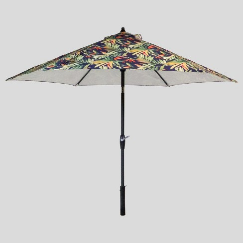 9' Round Jungle Tropical Patio Umbrella Navy - Threshold™ - image 1 of 3