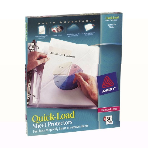 Avery Quick-Load Two-Side Loading Sheet Protectors, 8-1/2 x 11 Inches, Diamond Clear, Box of 50 - image 1 of 1