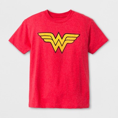 Boys' DC Comics Wonder Woman Short Sleeve T-Shirt - Red - image 1 of 1