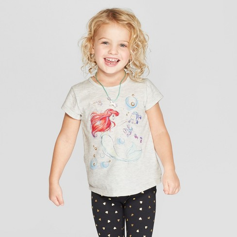 65c81203 Toddler Girls' Disney Princess Ariel Short Sleeve T-Shirt - Gray : Target