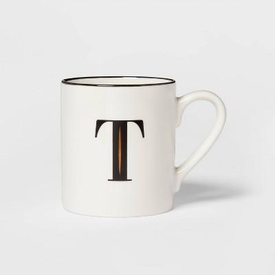 16oz Stoneware Monogram T Mug White - Threshold™