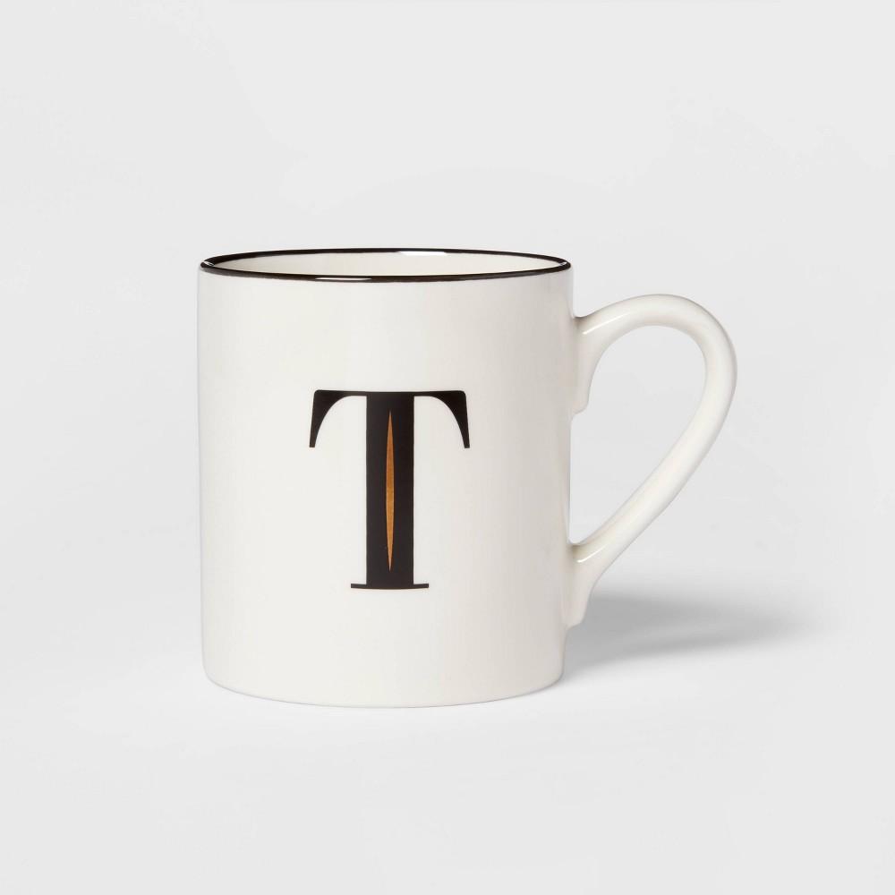 16oz Stoneware Monogram T Mug White Threshold 8482