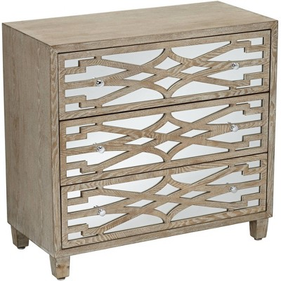 """55 Downing Street Rowan 34"""" Wide Mirrored and Whitewash 3-Drawer Accent Chest"""