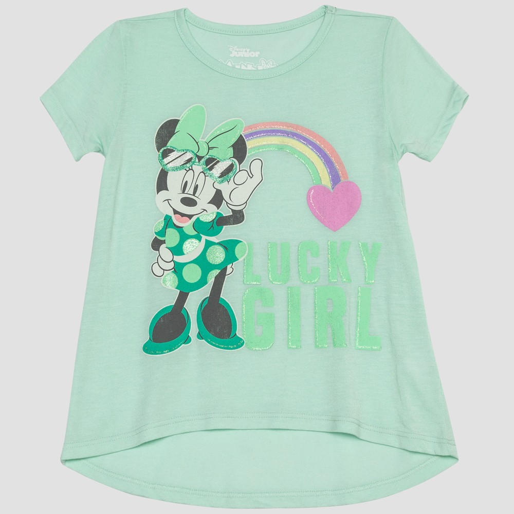Toddler Girls' Mickey Mouse & Friends Minnie Mouse Short Sleeve T-Shirt - Green 2T