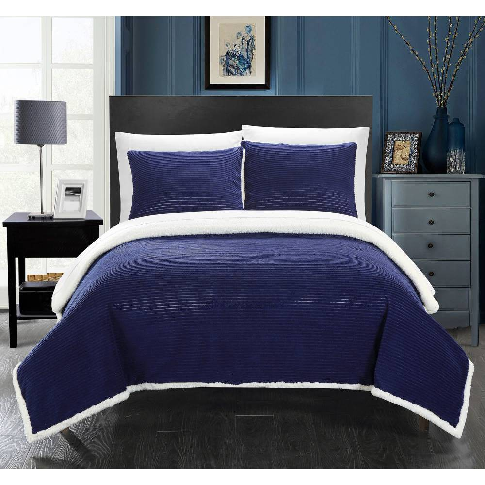 Image of 3pc Full/Queen Estonia Sherpa Blanket Set Navy - Chic Home Design, Blue