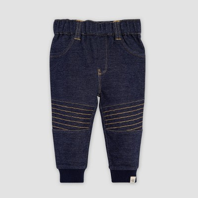 Burt's Bees Baby® Baby Boys' Two Tone French Terry Organic Cotton Jeans - Blue 0-3M