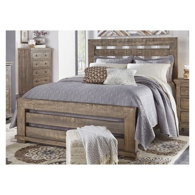 King Willow Slat Complete Bed Weathered Gray - Progressive